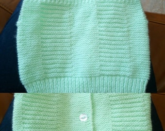 Lime green newborn baby jacket in wool