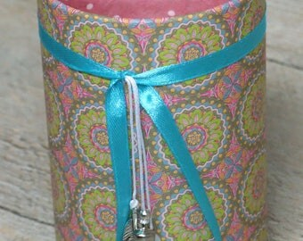 Pencil holder (No. 152) pink / green / turquoise