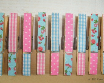 9 clips decorated linen (n ° 24) Shabby pink & Turquoise