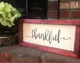 Thankful Wood Sign / Farmhouse Decor / Rustic Eood Decor