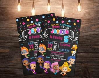Bubble Guppies Invitation,Bubble Guppies Birthday Invitation,Bubble Guppies Invite,Bubble Guppies Party,Bubble Invitation,Bubble Guppies SL