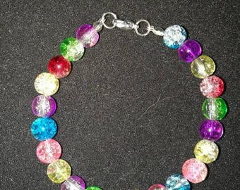 265. Multicoloured Glass Beaded Bracelet