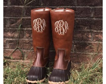 Kids Girls Monogram Mid-calf Duck Boots, rain boots, wellington boots, waterproof shoe, embroidered initials, navy blue