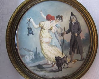 RISQUE French Miniature Painting/ Signed/Two women and a man with a dog.