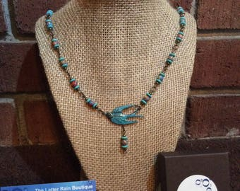 Blue Patina Swallow Statement Necklace