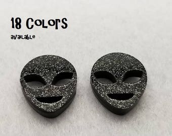 Alien Laser cut glitter Acrylic cabochons- 8pcs (You Pick Color)