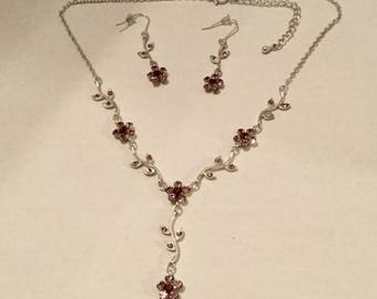 Pink Jewel Flower Necklace and Earrings Set