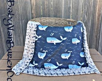 Whale Minky Baby Blanket - Crib Blanket