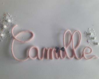 Hand made knitting wool initials