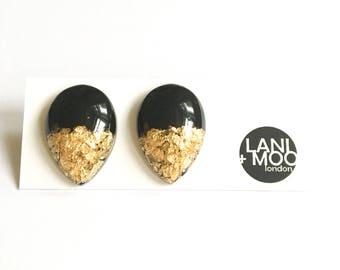 Teardrop Black Resin Stud Metallic Gold Leaf Statement Earrings!