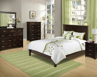 Solid Tersigne Mission Stickley Style Arts & Crafts BED - You Choose Wood, Size and Finish - Made in USA!