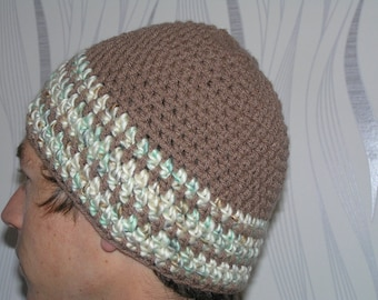 cream and mixed taupe wool crochet ski Hat mottled