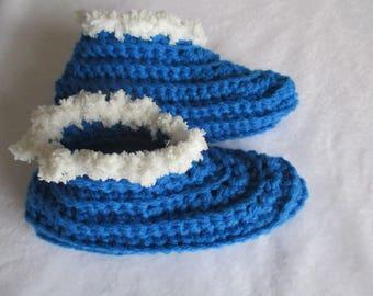 Slippers wool blue 34/35 or night crocheted woolen booties, gift