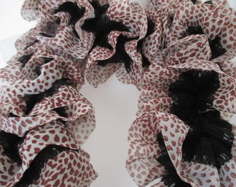 scarf fabric veil, brown black and white mothers day gift