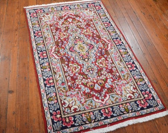 Authentic Persian Kerman Rug, 2'10''x5', Red/Blue, All wool pile
