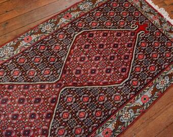 Vintage Persian Bidjar Runner, 2'7''x9'6'', Blue/Light Blue, All wool pile