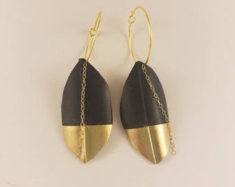 Gold Dipped Leaf Earrings, Upcycled Bicycle Inner Tubes, Vegan Leather, Gold Chain, Bohemian Earrings, Gold Hoops, Faux Leather, Gold Dipped