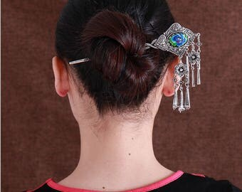Vintage traditional oriental exotic ethnic tribal classic miao silver embroidery hair pin stick jewelry flower love Valentines gift for her