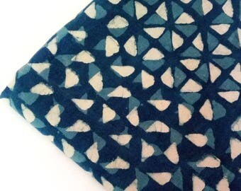Indigo Blue Hand Block Geometric Printed Cotton Fabric for Dress Making by Yard