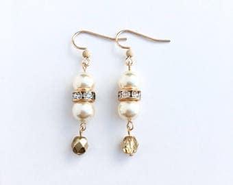 Pearl Dangle Earrings - Gold Earrings - Delicate Feminine Jewelry - Sparkly Pearl Earrings - Lightweight Earrings - Gold and Pearl Earrings