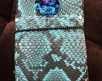 Blue Snake Bite Pocket Wide Leather Traveler Notebook