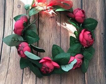 Bohemian Red Rose Buds Flower Girls Women  Crown Photo Prop
