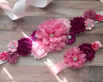 Maternity Sash and Matching Newborn Headband Pregnancy Sash Rose Pink Girl Gender Reveal Party Gift Photo Prop Baby Girl Keepsake
