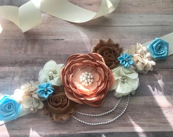 Brown Blue Cream Vintage  White Flower Sash Pregnancy Sash Gender Reveal Party Baby Shower Gift Keepsake Flower Girl Sash Bridal sash