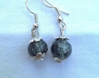 Beaded Silver earrings black transparent crystal glass