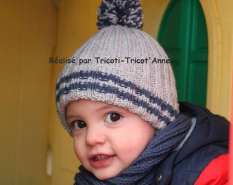 2/2 rib Hat knitted by hand and his wool Pompom (acrylic)(taille unique jeune enfant 1-3 ans).