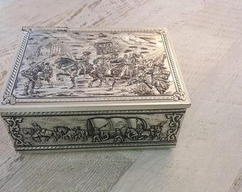 Vintage Large Tin Box  embossed army victory  Early 1950s
