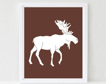 Moose Nursery Art, Woodland Nursery, Kids Wall Art, Baby Shower Decor, Forest Friends, Choose Your Custom Color