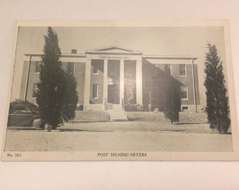 Circa 1940s U.S. Army photo postcard depicting the post headquarters-scarce