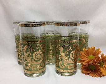 Culver's Toledo Tumbler Highball Glasses Green Swirl - set of 5