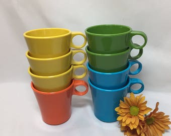 Vintage Atomic Plastic Mugs by Deka - set of 8