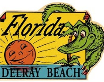 Vintage Style Delray Beach Florida FL    Travel Decal sticker