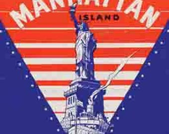 Vintage Style Manhattan NY Statue Of Liberty  New York     1950's   Travel Decal sticker