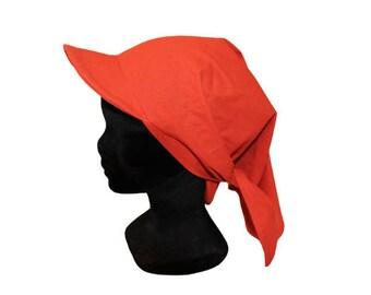 Hat in orange cotton scarf - rust