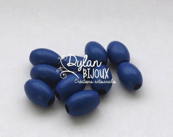10 oval wooden beads / olives 'Navy' blue dark 10 x 16 mm