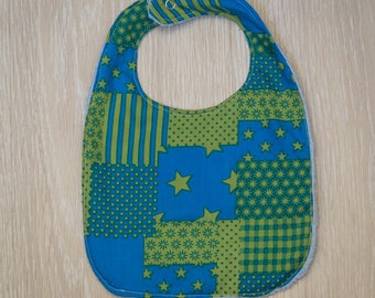 "Blue towel ""Patchwork"" baby bib"