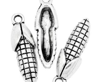 Charm shape ear of corn in antique silver (x 4)