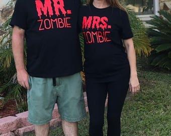 Mr. & Mrs. Zombie His/Hers matching Halloween Shirts!