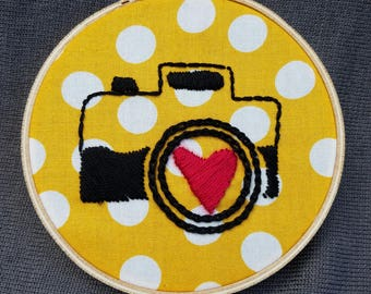 "Camera Love 4""-Hand Embroidered Hoop Art"