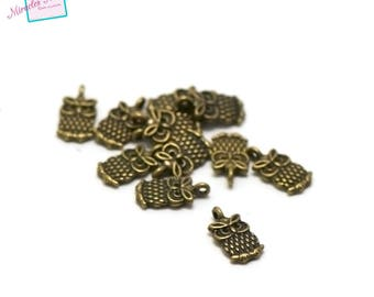 "20 charms ""owls"" 14 x 7 x 2 mm 074 bronze"