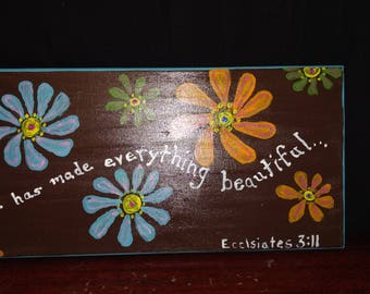 Hand painted Ecclesiastes 3:11 verse on canvas