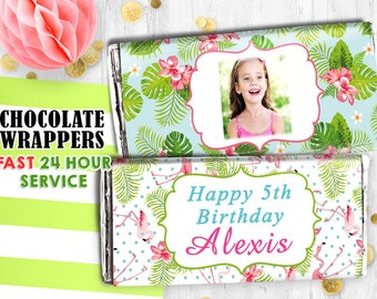 Tropical flamingo Chocolate wrappers Hershey wrappers Printable digital wrappers