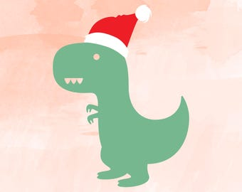 Santasaurus svg, dinosaur SVG,  tyrannosaurus rex Clipart Cut Files Silhouette Cameo Svg for Cricut and Vinyl File cutting DXF Png Pdf svg