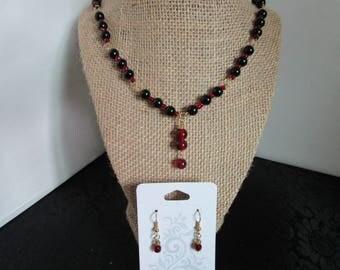 Black Pearl Necklace & Earrings Set