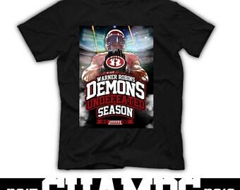 Demon Pride High School Spirit Wear Tshirt Warner Robins Georgia Demons WRHS Coach Gear Black Red Rocking R Game Gear Pep Rally Grad Gift