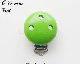 Clip / wooden pacifier Clip, Ø 37 mm from loop: Green